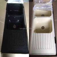 Original China Factory Wholesale Black Quartz Artificial Stone Kitchen Sinks