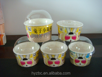16oz disposable printed big frozen yogurt paper cup,soup paper cup with lid and spoon,ice cream paper cup