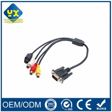 S-video VGA HDB 15Pin Male to 3 RCA Plug + Mini Din 6Pin Converter Audio Video Cable