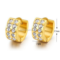 2014 fashion women earrings 18k gold hoop earrings with austrian crystal huggies jewelry