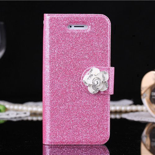 Light Pink Crystal Camellia Glitter Bling Wallet Leather Stand Case Cover For iphone 5 5S