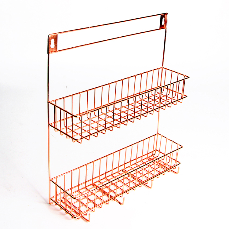 Rose Golden Metal Wire 2 Tiers Rack Wall Mount Shelving with Hooks Storage Basket Rack