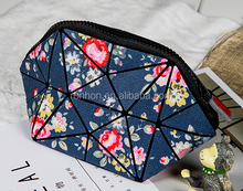 Lady PU Check Printing Tiny Makeup Pouch Cosmetic Bag Decorative Storage Bag