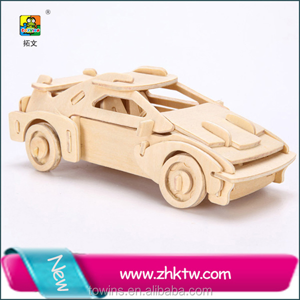 Sport car wooden toy trucks and cars educational wood puzzle toy car for kids