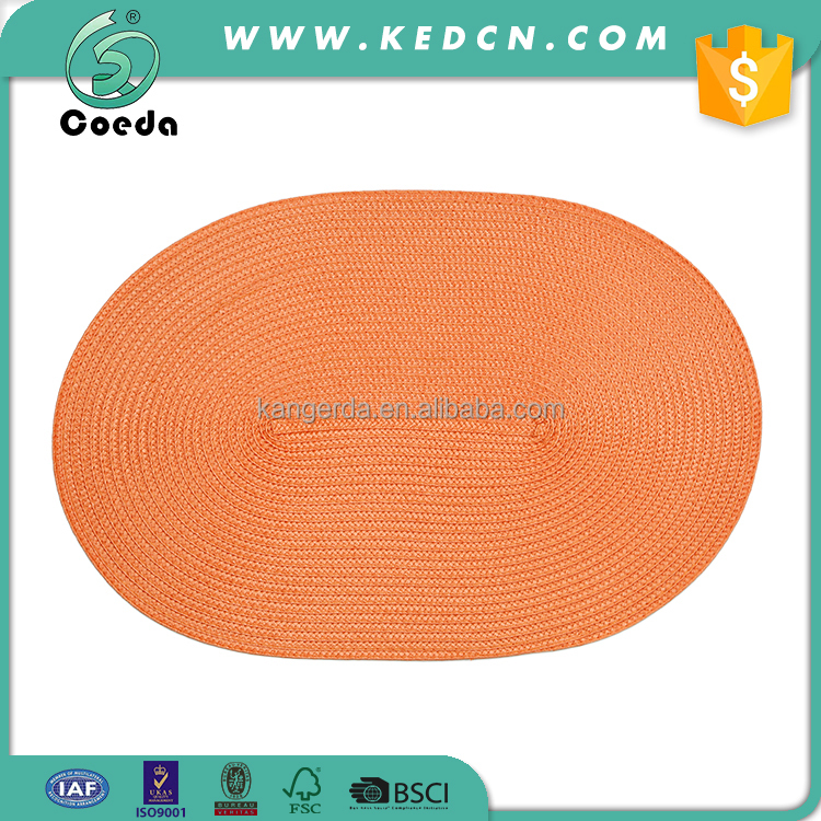 Oval Woven Hotel PP Placemat for Dining Table Decoration