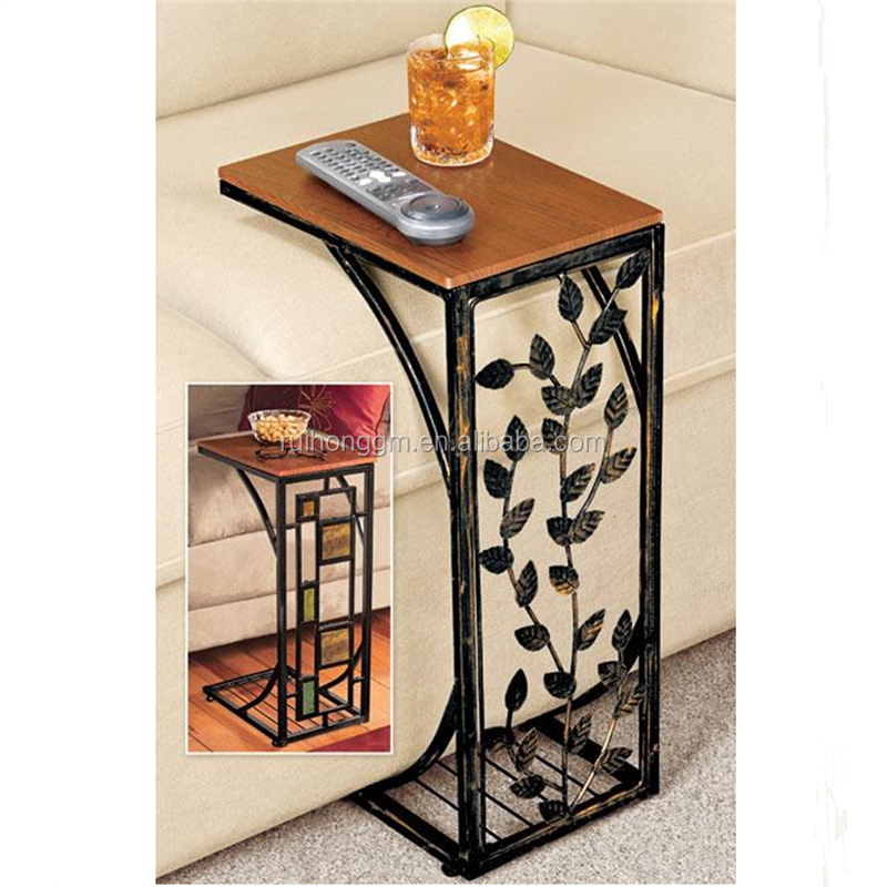 Living Room Vine Leaf design metal Sofa side end table Accent TV Tray coffee table