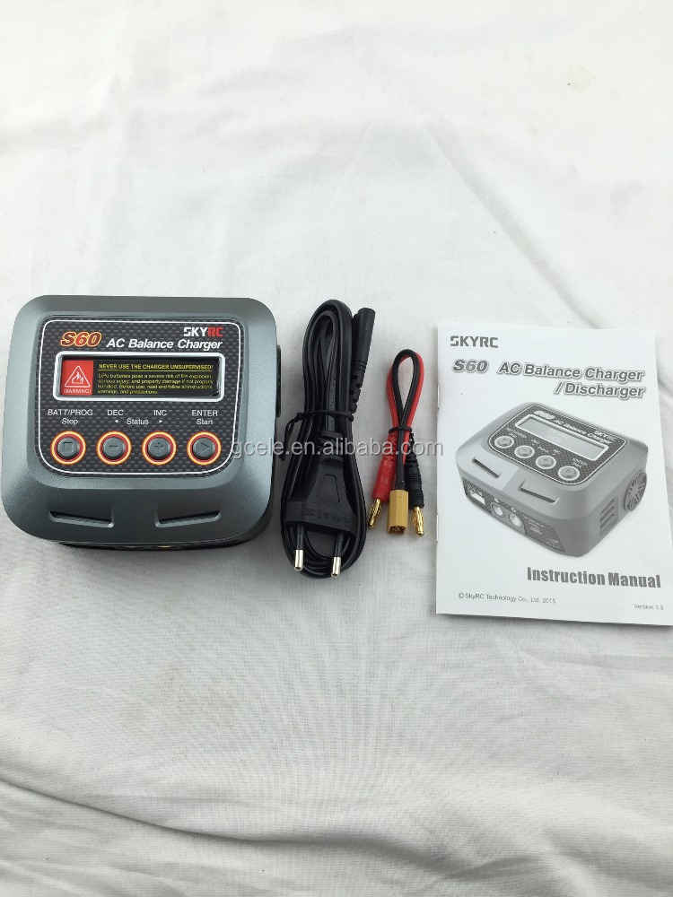 S60 SKYRC RC Model S60 60W 6A AC Balance Charger / Discharger (EU Plug and XT60)