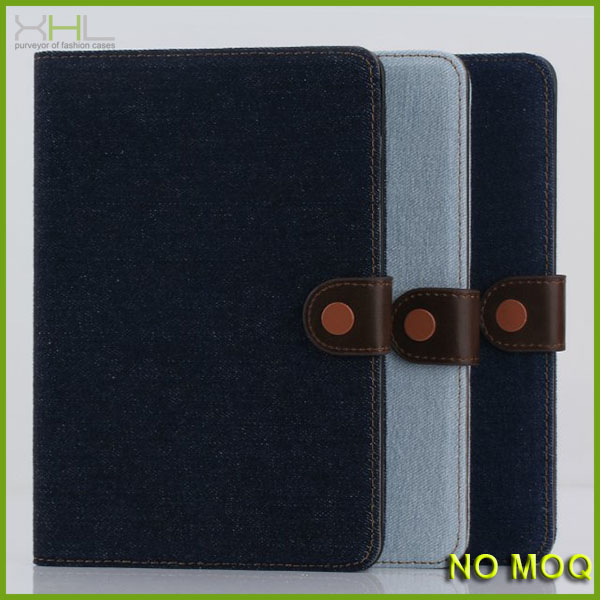 High quality jeans stand wallet pu leather case for ipad mini mini2 case