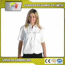 High quality custom cotton short sleeve ladies white linen shirt