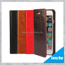 Top quality handmade Real Leather Flip Wallet Case Cover For Apple iPhone 6 plus 5.5 inch