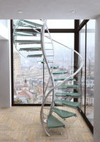 European Fashion Curve Shape stair, steel-glass spiral staircase,prefabricated spiral stairs,L-395