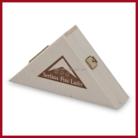 Triangle empty plywood chocolate gift box with lock for display and pack