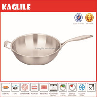 New arrival Triply clad high heat conduction stainless steel wok pan