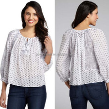 2014 Women Sexy White Chiffon Three Quarter Sleeve Polka Dot Blouse
