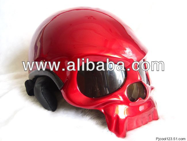 Red Skull Style Chopper helmet