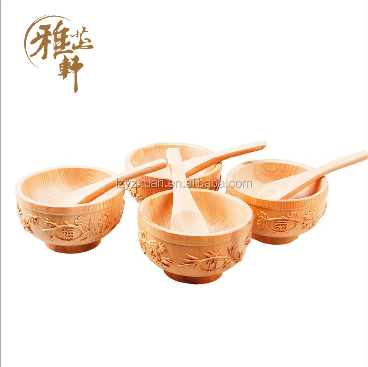 Good Quality unique design red pine wood unbreakable dinner set with serving bowls