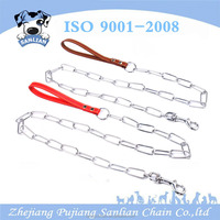 China factory supply pet accessory strong long link chain dog leash with PU handle