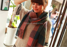 Hot sell shawl wrap grid wool long scarf