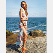 Womens Summer Beach Dresses 2017 Long Boho Ladies New Style Split Dresses Fashion Floral Print Sleeveless Maxi Dress
