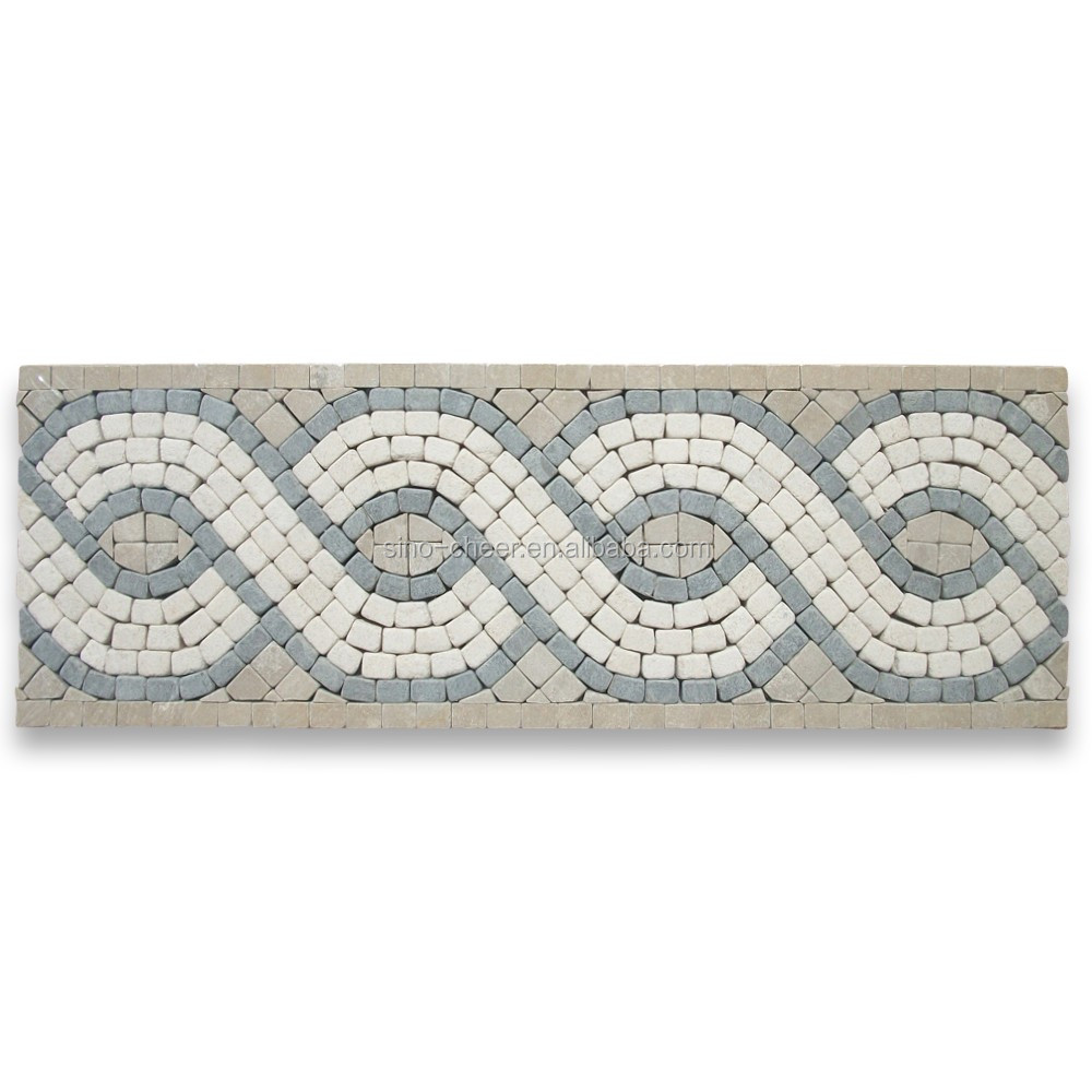 New design Wave 4x12 marble waist line tile marble mosaic border