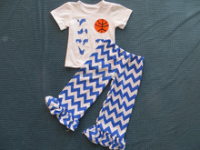 LY-128 hot sale kids fashion girls boutique summer casual short sleeve chevron suit with basketball design sport outfit