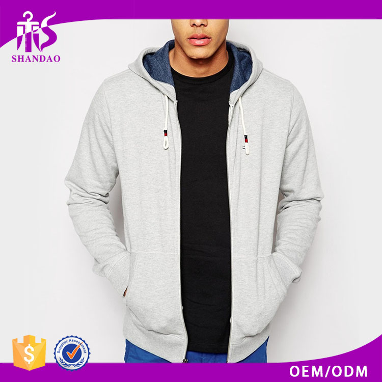 2016 guangzhou shandao autumn plain dyed casual men gray polyester cotton fleece thin custom blank zip up hoodies wholesale