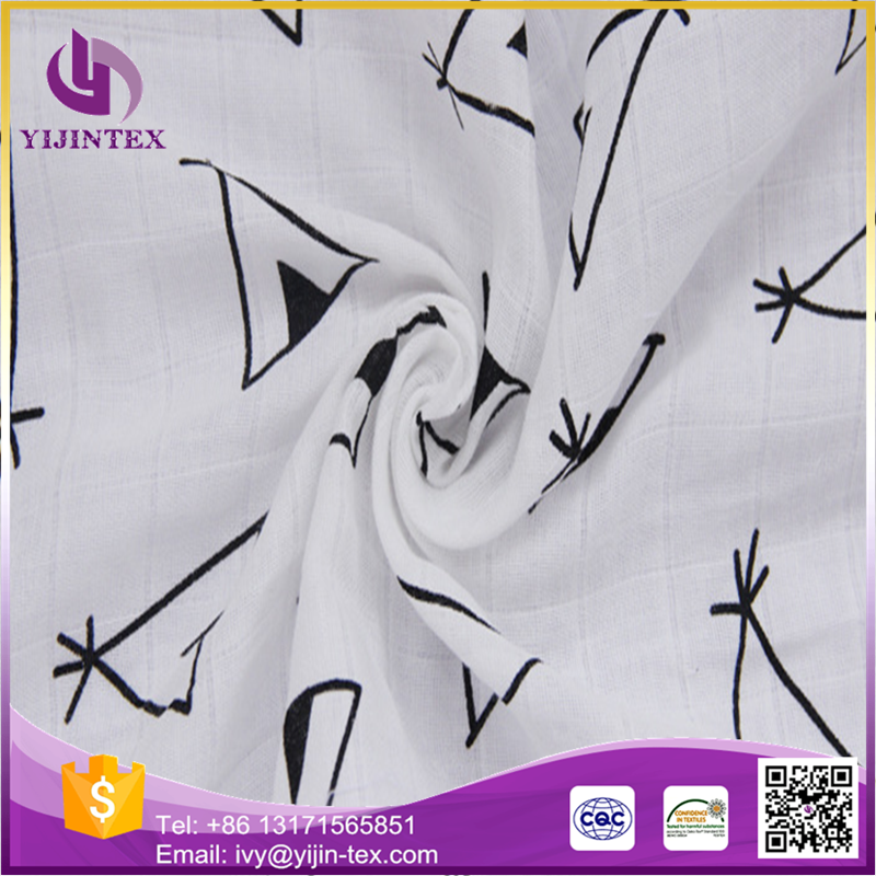 Hot sale baby products bamboo cotton printed gauze fabric