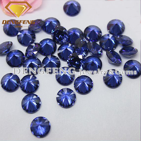 lab created round brilliant cut tanzanite gemstone