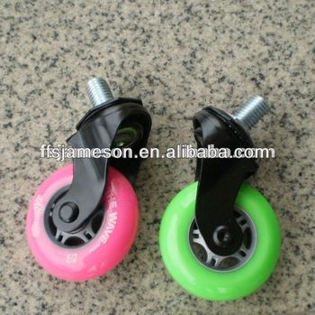 "3"" colurful pu skateboard scooter casters wheels"