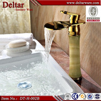 top hight waterfall sink faucet, gold finished jade deluxe faucet, waterfall faucet for villa