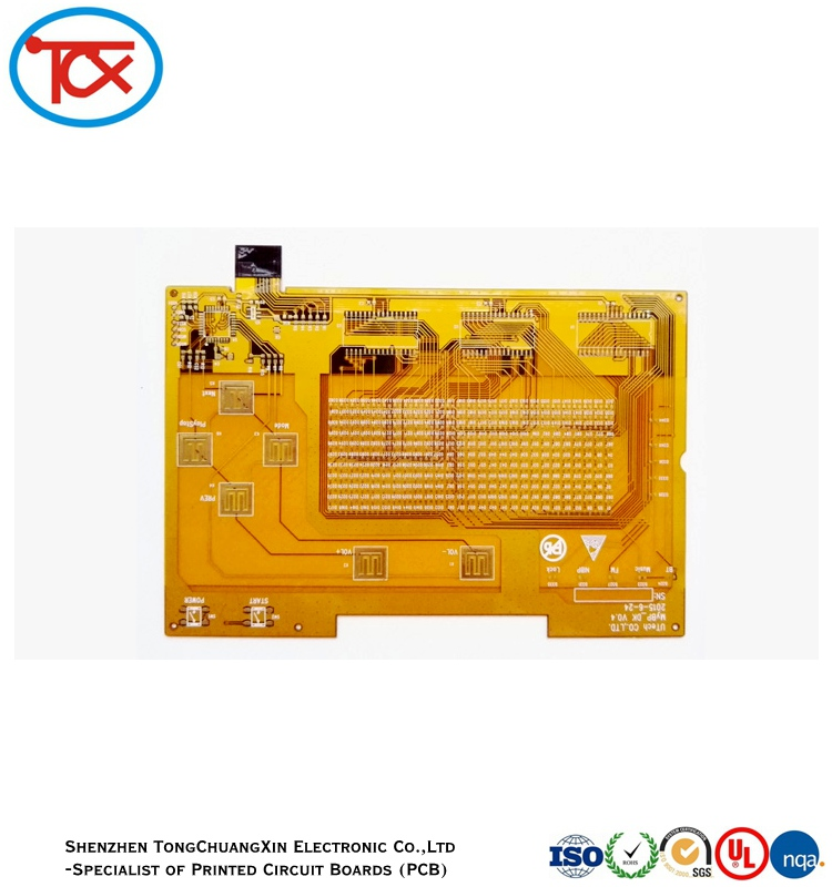 FPC PCB, one layer, with white silk screen and yellow solder mask
