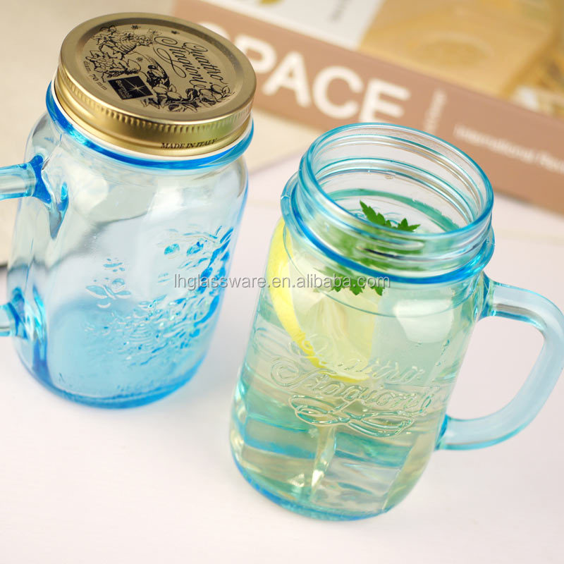 16 oz glas mason jar met metalen deksel glas drinkbeker. Black Bedroom Furniture Sets. Home Design Ideas