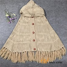 Ladies Knitting Cardigan Acrylic Pashmina Cape Shawl with tassel