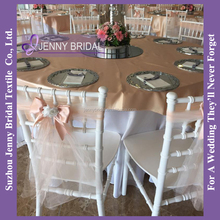 C336A cheap organza blush chair sashes ruffled chiavari chair covers