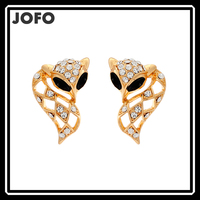 Lovely Golden Zinc Alloy Rhinestone Women Long Tail Fox Earrings
