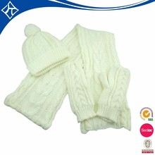 wholesale white knit hat glove and scarf set
