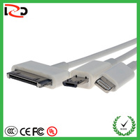 China Supplier New Design OEM White Plastic 3 In 1 USB Data Cable