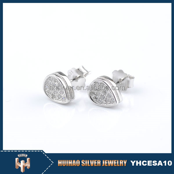 wholesale new model light weight cz 925 silver earrings studs for girls