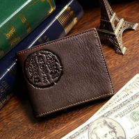 8010-2C J.M.D Wholesale Durable Coffee Vintage Genuine Leather Wallet For Men