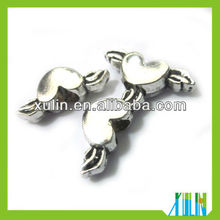 heart wing alloy beads european big size hole beads