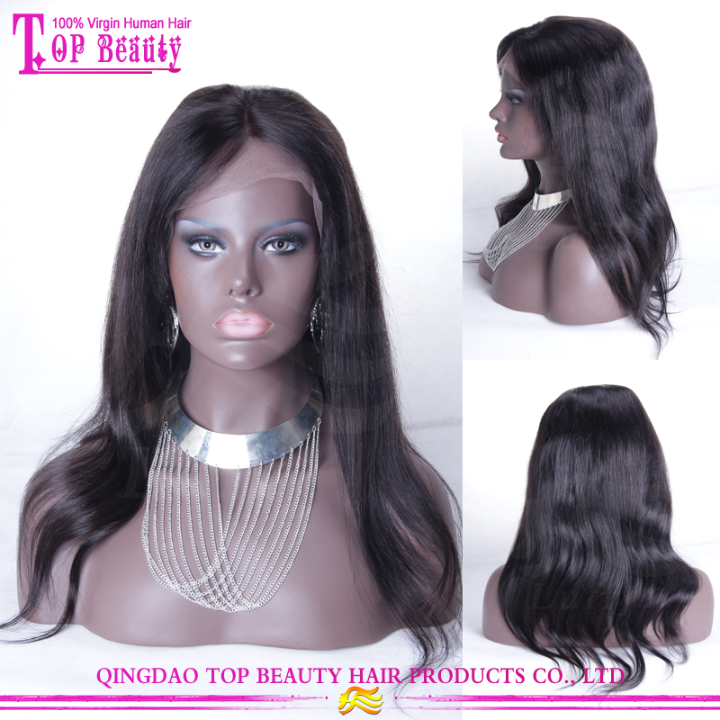 Factory direct sale long black straight virgin peruvian human hair wig cheap lace front wig with baby hair