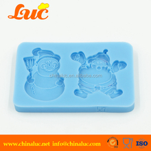 Food grade snow silicon fondant mold and santa claus christmas silicone cake mould