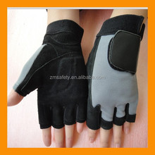 Half Finger Sueded Leather Anti Vibration Gloves