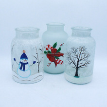 Hand painted bottle glass candle holder