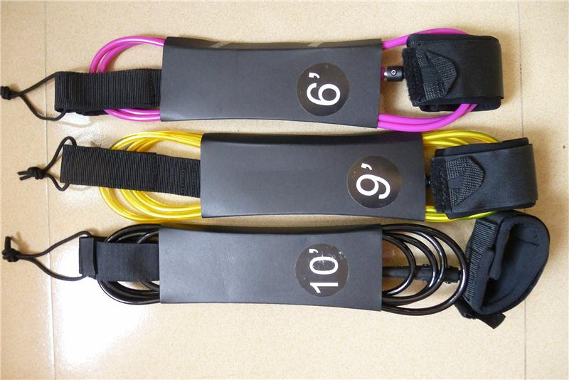 High quality sup leash leg rope coiled leash surf leash cord for surfing