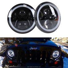 7inch RGB LED Headlamps Halo Ring Flashing LED Headlight with Bluetooth Remote for Jeep Wrangler LJ CJ JK