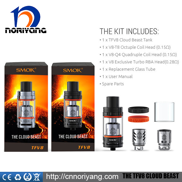 Factories For Production Glass Ecig Tanks Smoktech TFV8 Atomizer