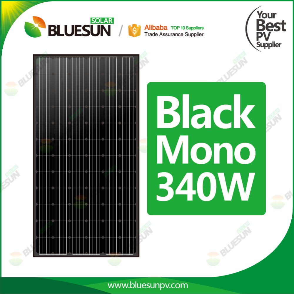 Bluesun Solar 340w 36v All Black Pv Mono Solar Panel Module