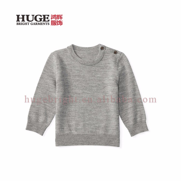 Two-button Placket At The Left Shoulder Wool Sweater Design For Baby
