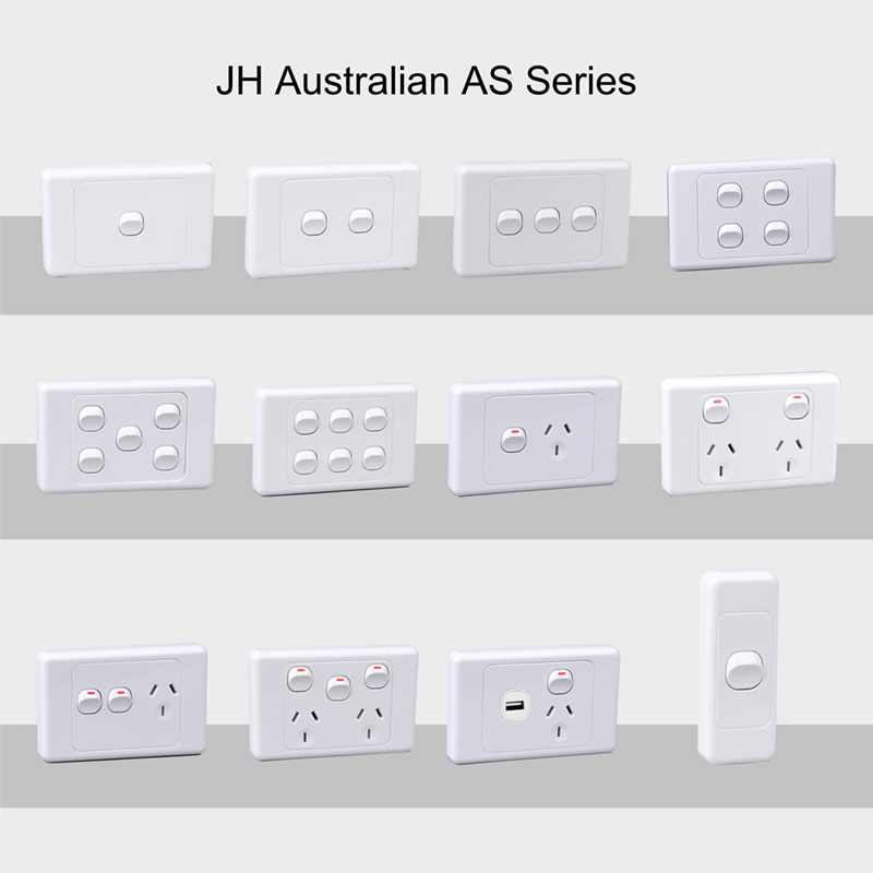 zhejiang china supplier SAA plastic australian standard 4gang wall switch, free sample AS/NZS horizontal type 4gang wall switch